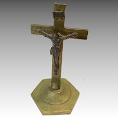 Antique Miniature Standing Crucifix Cross Doll Size Religious