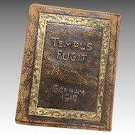 1919 Miniature Tempus Fugit Gorham Co. New York Silversmiths Goldsmiths Leather Doll Size Book Calendar Time Flies