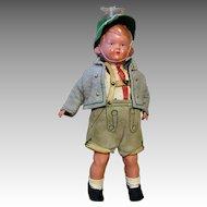 Vintage German Doll Clothes Boy Outfit Lederhosen Shorts Jacket Hat Shoes Socks