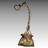 Antique Metal Doll Purse Chatelaine Charm Fob
