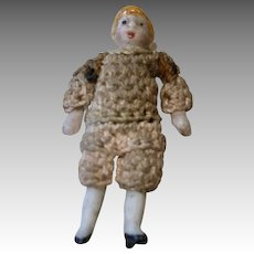 """1.5"""" Tiny German All Bisque Doll Carl Horn Crochet Outfit Boy"""