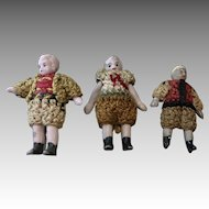 3 Tiny Antique All Bisque Boy Doll Carl Horn Crochet Outfits Clothes