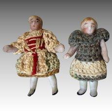 2 All Bisque Miniature Carl Horn Doll Crochet Clothes