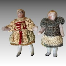 2 All Bisque Miniature Carl Horn Doll Crochet Clothes