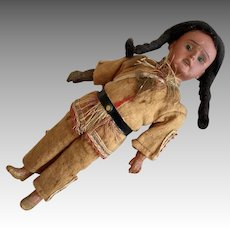 German Scowling Indian Antique Bisque AM Doll Native American Original Clothes