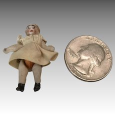 """1.25"""" Tiny Jointed Antique All Bisque Doll Carl Horn"""