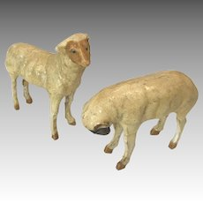 2 Antique German Stick Leg Dollhouse Doll Size Miniature Papier Mache Sheep Ram