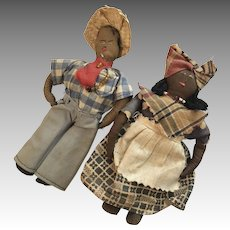 2 Vintage Cloth African American Black Doll Folk Art Pair