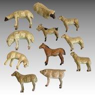 11 Antique German Dollhouse Doll Miniature Stick Leg Farm Animal Sheep Pig Dog Goat