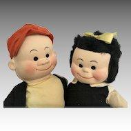 Vintage Cloth Character Georgene Comic Nancy Sluggo All Original Doll Pair