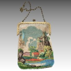 Antique Scenic Beaded Purse Fine Seed Beads Castle Farm