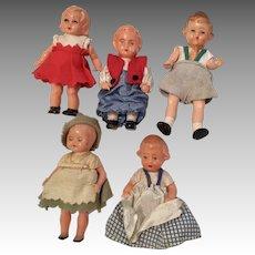 5 Vintage German Dollhouse Doll