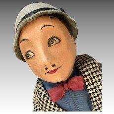 1930s Character Cloth Doll English Dean's Rag Book Rare Lupino Lane Man Actor Vintage Doll