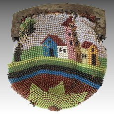 Early Scenic Beaded Antique Doll Purse