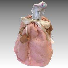 Half Doll Antique Sewing Thread Holder Pin Cushion Doll