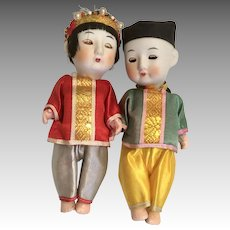 2 Bisque Head All Original Vintage Oriental Doll Couple Sleep Eyes Great Costumes