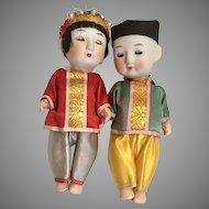 Oriental Doll Couple Sleep Eyes Great Costumes Vintage Bisque Head All Original