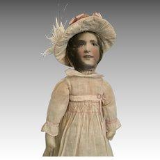 "17"" Cloth Doll Photograph Face Vintage Photo Original Clothes"