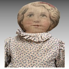 Dated 1900 Pretty Printed Cloth Antique Doll Print Dress