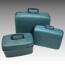 3 Piece Vintage Suitcase Barbie Doll Size Samsonite Luggage Set