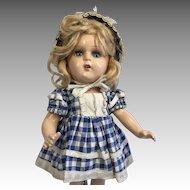 Vintage Compo Doll Great Outfit Check Dress Bonnet Original Shoes