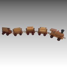 Vintage Erzgebirge Miniature Wood German Train for Doll or Dollhouse