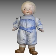 Chunky All Bisque Molded Clothes Intaglio Eyes Boy Doll