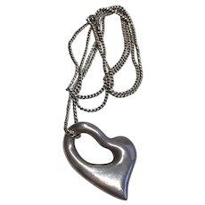 Vintage Designer Ciani Sterling Silver Modernist Heart Pendant Original Signed Chain