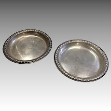 2 Miniature Sterling Silver Dollhouse or Doll Tray Dish Set
