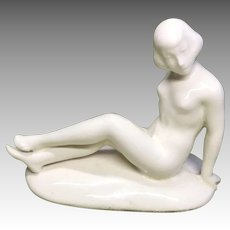 German Bathing Beauty Glazed China White Bisque Nude Antique Doll