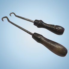 2 Antique Doll Size Boot Button Hook