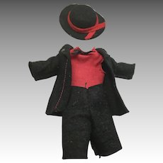 Vintage Felt Outfit for Small Boy Doll or Dollhouse Doll
