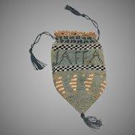 Antique Primitive Doll Size Reticule Woven Cloth Purse