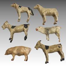6 Antique German Papier Mache Wood Stick Leg Miniature Dollhouse Doll Farm Animals