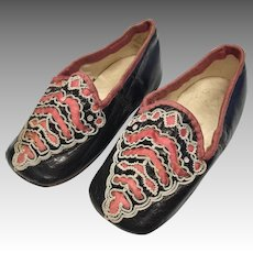 Amazing Antique Leather Silk Doll Shoes Slippers