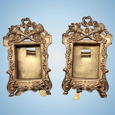 2 Antique Matching Miniature Ormolu Dollhouse or Doll Metal Picture Frame Set