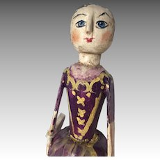 Wow! Handmade Primitive Wood Doll Artist Robin Thompson for Rose Percy Event 2012