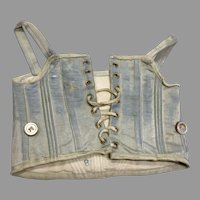 Blue Silk Doll Corset Antique French Fashion Bebe