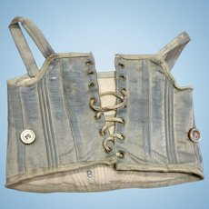 Antique Blue Silk Doll Corset for French Fashion Bebe
