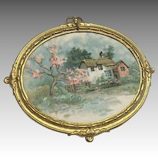 Lovely Omolu Frame Antique Miniature Dollhouse Doll German Print Picture