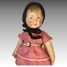 German Bing Art Cloth Doll Painted Hair Felt Dress & Hat