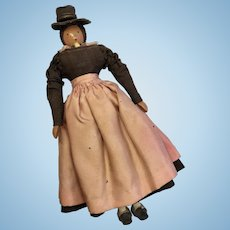 Peg Jointed Penny Wood Doll Great Antique Outfit