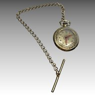 German Doll Pocket Watch with Chain Antique Fashion Doll Accessory