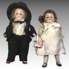 Kestner All Bisque Glass Sleep Eye Doll Wedding Pair Bride and Groom Dollhouse