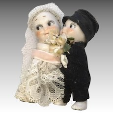 All Bisque Kewpie Huggers Bride Groom Cake Topper Doll