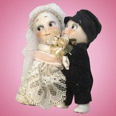 All Bisque Kewpie Huggers Bride Groom Wedding Cake Topper Doll