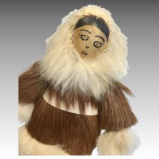 Leather Face Animal Skin Fur Clothes All Original Inuit Folk Art Doll