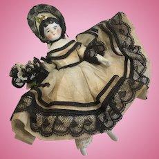 """4"""" Original Clothes Bonnet Dollhouse China Bisque Head Antique German Doll"""