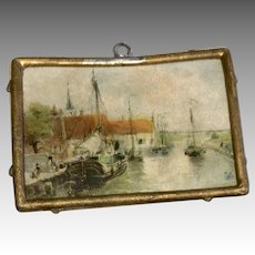 German Miniature Dollhouse Doll Antique Print Metal Frame Sailboat Ship