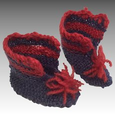 Darling Knit Crochet Vintage Doll Boots Shoes